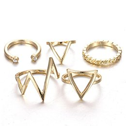 Wholesale horn pack - Wholesale- 12.5mm-17mm Mixed Design Rings Pack Gold High Polished Lighting V Shape Opening Front Leaf Geometric Rings Set for Women
