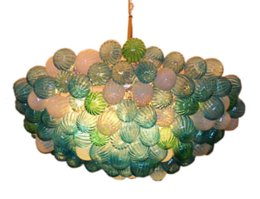 Feux de lustre en verre vert en Ligne-Design moderne Green Balls lustre en verre soufflé bouche bouche de verre de Murano Luminaire LED lustre et lampes suspendues