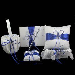 Wholesale Flower Wedding Rings - 5Pcs set Satin Wedding Decoration Product Ring Pillow Flower Basket  Guest Book  Pen Set Garter Home Decor White SXZ