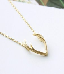 Wholesale Wholesale Antler Necklace - Jisensp 2018 New Fashion Deer Horn Antler Necklace Jewelry Simple Elegant Horn Necklace Antler Tiny Cute Pendant Necklace N056