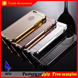 Wholesale Iphone 5s Aluminum Bumper Cases - metal bumper case Luxury Aluminum Ultra-thin Mirror Metal Case Cover for iPhone 5s 6 6+ Plus