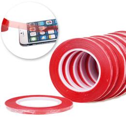 ruban double face rouge en gros Promotion Gros-100pcs / lot haute résistance 1mm * 50m acrylique gel adhésif adhésif rouge ruban adhésif double face ruban pour téléphone écran LCD