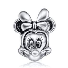 Wholesale European Beads Cube - Wholesale Cute Minnie Charm 925 Sterling Silver European Floating Charms Beads Fit DIY Snake Chain Bracelets Fashion DIY Jewelry