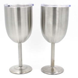 Wholesale Double Glass Beer - Silver 10OZ Wine glasses Goblets double layer Stainless Steel Wine cup Beer coffee Wine glass with lid