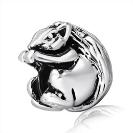 Wholesale Oval Chains - Free shipping Squirrel European charm 925 Sterling silver Beads for Pandora Snake chain Bracelets Charms Wholesale Jewelry