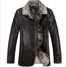 Wholesale Real Sheep Skin - Fall-High-grade Sheep Skin Fur Leather Jacket Fashionable Man For Real Leather Men With Thick Cotton-padded Jacket In Winter Black
