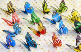 Wholesale China Fake Flowers - Free Ship Mixed Color PVC Home Decoration 3D Fake Butterfly Decorative Flower Gardening Plunger Wholesale 200PCS LOT 7CM 12CM