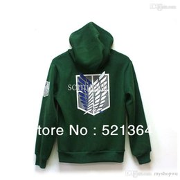 Wholesale Sweater Anime - Wholesale-Free shipping 2015 Hot sale! Japanese anime Attack On Titan 4 Color Cotton Hoodie Cosplay Hooded Sweater