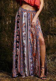 Wholesale Wholesale Long Straight Skirts - Wholesale- Maxi Summer Skirt Beach Long Casual Skirts Fashion New Womens Gypsy Boho Tribal Floral Skirts