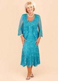 Wholesale Tea Length Dresses Bolero - Hunter Full Lace Mother Dresses 2017 Custom Made Elegant A Line Tea-Length Mother of the Bride Dresses with Lace Bolero Evening Gowns BA1813