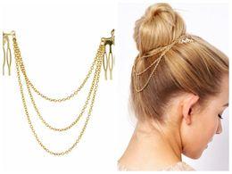 Peignes de dames en Ligne-pas cher-fine Vintage cheveux accessoires double chaîne en or avec la tête de peigne de feuille de nouveaux bandeaux pour les femmes fille Lady