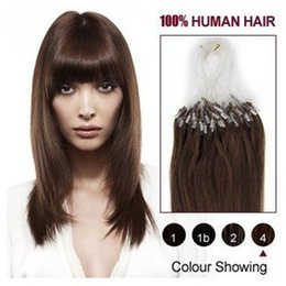 """Wholesale Indian Remy Micro Loop 1g - wholesale remy indian Hair 16""""-24"""" 1g  s 100g set #4 medium brown Loop Micro Ring Hair Extension,100% Human Hair Extensions dhl free"""