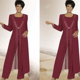 Wholesale Yellow Wedding Outfits - Burgundy Chiffon Bridal Pant Suits Wedding Mother Of the Bride Suits with Long Jacket Tassel Formal Evening Party Outfits with Wrap Vestidos