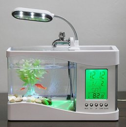 Wholesale Mini Plastic Fish Tanks - 1set Mini USB LCD Desktop Black Fish Tank Aquarium Clock Timer Calendar LED Light Mini USB LCD Desktop Timer Calendar Clock LED Lamp Light