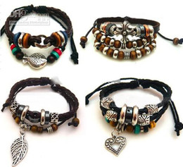 Wholesale Love Wooden Beads - 2016 hot sales Mixed style retro leather bracelet cross wooden bead bracelet love bracelet charm fashion jewelry 15pcs lot
