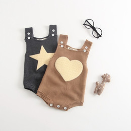 Wholesale Design Romper Infant - Boutique Baby girl clothing Knit Romper Strap overall Button romper for Infants Stars Heart Design 2017 Autumn Winter Hotsale 0-24M BABY