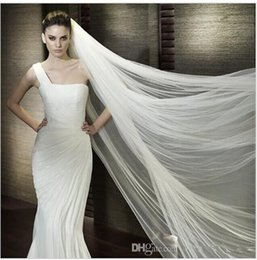 Wholesale Wedding Dress Veil Cathedral - Vintage White Ivory Long Tulle Wedding Dresses veils Real Garden Bride Veils One Layers New Arrival Free Shipping