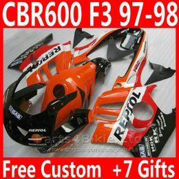 honda cbr f3 gewohnheit Rabatt Soem-Fabrik orange schwarze Karosserie für Honda-Verkleidungskit CBR 600 F3 CBR600F3 1997 1998 REPSOL kundenspezifische Verkleidungen CBR600 F3 95 96 IDVD