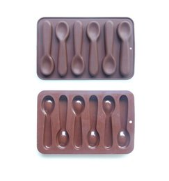 Wholesale Chocolate Cupcake Toppers - Popular 6 Cell Diy Cake Decorating Spoons Chocolate Mould Candy Mold Silicone Bakeware Cupcake Cake Topper