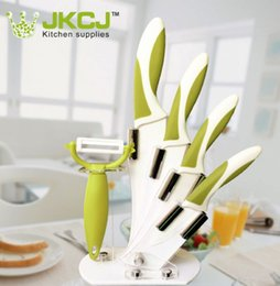 Wholesale Zirconia Knife Blade - ceramic acrylic 5 pcs knives set Zirconia fruit kitchen knife with Zirconia blade and ABS+TPR handle green color, DHL shipping