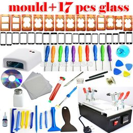 Wholesale Glue Machine Glass - 17 pcs Glass+UV lamp+Loc Glue iPhone 6 Mobile phone 7 Inch Touch Glass LCD Screen Separator Repair Kit machine Free shipping order<$18no tra