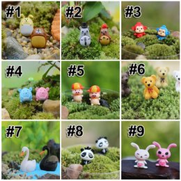Wholesale Plastic Figurines Animals - 2016 Cute Tiny Cartoon Animal Figurines Succulents DIY Garden Bonsai Succulents Terrarium Home Tree Decorations 9 Styles Free DHL E387L