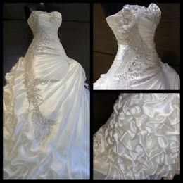 Wholesale Silk Satin Wedding Skirt - Luxurious Ivory Wedding Dress High Quality Ball Gown Sweetheart Neck Crystals Beaded Ruffled Skirt Silk Satin Bling Wedding Dresses