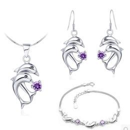 Wholesale Earings Bracelets - chaming npurple *silver drops diamond lady's set necklace(45cm) bracelet earings) ( sp3658) fghf