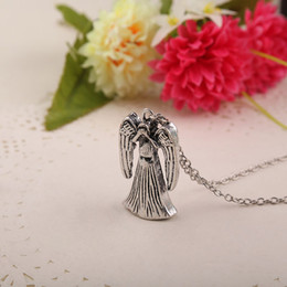 Wholesale Dr Charms - Doctor Who Tardis Necklace disappeared Weeping angle charm pendants necklaces mysterious Dr. TRADIS movie statement jewelry 160479
