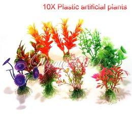Wholesale Colored Plastic Fabric - Best Price 10pcs lot Plastic Aquarium Decorations Multicolor Artificial Plants Fish Tank Grass Flower Ornament Decor Landscape