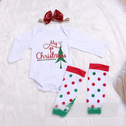 Wholesale Tutu Tight Baby Girl - My 1st Christmas Sets For Baby Girls Long Sleeve Romper + Sequins Headband + Dots Socks Tights 3 Pcs Set Suits Toddler Clothing Sets A7985