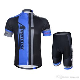 Wholesale Bicycle Jersey Design - 2016 Arsuxeo men cool style Short Sleeves blue black red bars design Polyester Cycling Wear Road Bicycle Suit Riding Clothes Race jersey