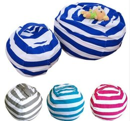 Wholesale Kids Stuff Wholesale - Kid Stuffed Animal Toy Bean Bag Storage Pouch Soft Stripe Chair Portable Clothes Storage Bag 4 Colors KKA3550