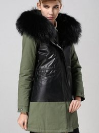 Wholesale Wool Lined Leather Jacket - Mr Mrs itlay black fur liner army green and black genuine leather Patchwork long parka Mr Mrs furs jackets