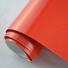 Wholesale Vehicle Vinyl Wrap Red - 1.52x2m 5x7FT air release Re-positionable vinyl Gloss red vehicle wrap vinyl sticker for car body color changing free shipping