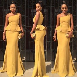 Wholesale Cheap Dress Jackets For Women - Aso Ebi Style Yellow Mermaid Evening Dresses 2017 Ruffle Train Plus Size Custom Made Prom Occasion Gowns For African Saudi Women Cheap