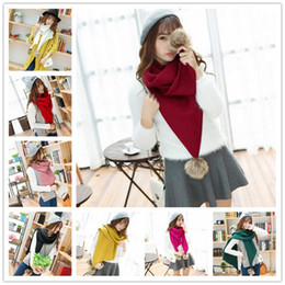 Wholesale Woman Cute Winter Scarfs - New Korean style Knitting scarves 9 colors winter warm solid color scarves for women Cute plush ball gilrs scarves LA153-8