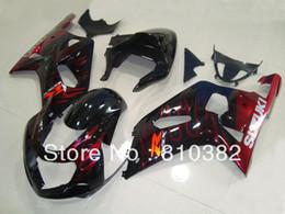 Kit de carenado de inyección para SUZUKI GSXR 600 750 01 02 03 GSXR 600 GSXR750 K1 2003 2001 2002 llamas rojas conjunto de adornos negro SM67 desde fabricantes