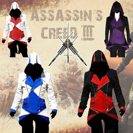 Argentina Cheap Assassins Creed 3 III Conner Kenway Hoodie Coat Jacket Assassin's Creed Trajes de asesino Connor Cosplay Overcoat Custom Suministro