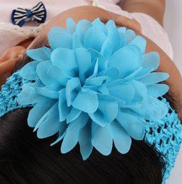 Wholesale Crochet Flower Hairbands - Fashion Baby Headband With Chiffon Flower Elastic Crochet Hairbands Children Hair Accessories Girl Crochet Hair band For Photograph Props
