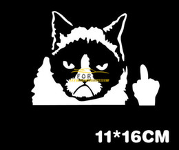 Wholesale Sticker Mirror For Phone - Funny Car Stikcer Decor Grumpy Unhappy Cat Sticker Personalized Sticker for Car Window Wall Phone