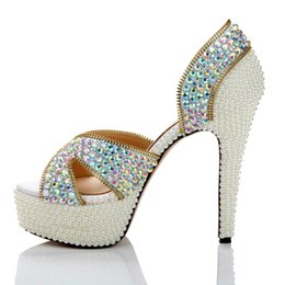 Wholesale Wedding Pearl Sandals - Genuine Leather Women Rhinestone Sandals Fashion Pink Crystal Wedding Shoes Open Toe High-heeled Party Prom Shoes Summer Pumps
