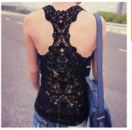 Wholesale Cotton Womens Tank Tops - 2015 New Fashion Womens Sexy t-shirts Crochet Back Hollow-out Tops Vest