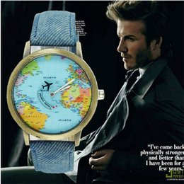Wholesale World Map Watch Men - Luxury World Map Watch Plane Needle Denim Strap Quartz Wristwatches Men Women Unisex Casual Watch Christms Gift Watches