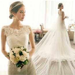 Wholesale Eyelash Lace Gown - Modest Lace Wedding Dresses Mermaid Jewel Sleeveless Eyelash Lace Appliques Ruched Tulle Lace up Back Bridal Gowns with Flowing Train