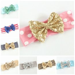Wholesale Toddler Girl Large Hair Bows - girls large sequin bows headbands baby elastic headband toddler dot leopard hair bands children accessory hair accessories kids big hair bow