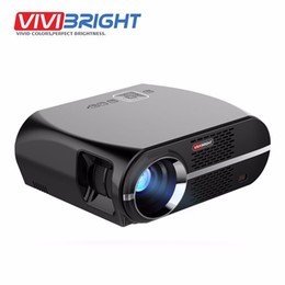 2017 jugador de resolución Al por mayor- VIVIBRIGHT LED Projector GP100. 1280x800 Resolución 3200 lúmenes Compatible con Full HD, Pro Consumer Proyector Reproductor multimedia LED TV barato jugador de resolución