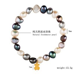 Wholesale Gold Bracelets For Ladies - New Stainless steel high quality grey white pink shell pearl beads bracelet gold silver rose gold jewelry for girl & lady pulsera mujer oso