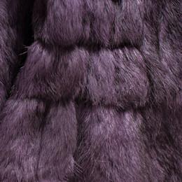 Wholesale Real Fur Trimmed Coats Women - Wholesale-winter women real genuine natural fox fur collar full pelt rex rabbit fur coat long jacket hood XXL 3XL 4XL plus size purple