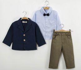 Wholesale Coat Handsome - Boy Handsome 3PCS Sets Stripe Coat+Stripe Shirts+Pants Children Outfits 2-8Y F1710